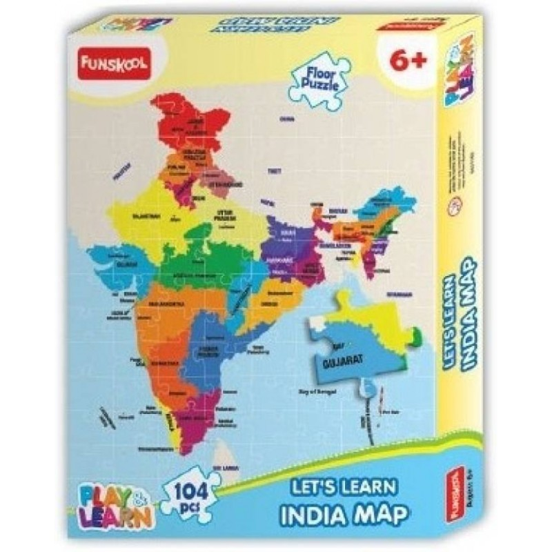 Indian Map Puzzles Learning Game  (104 Pieces)