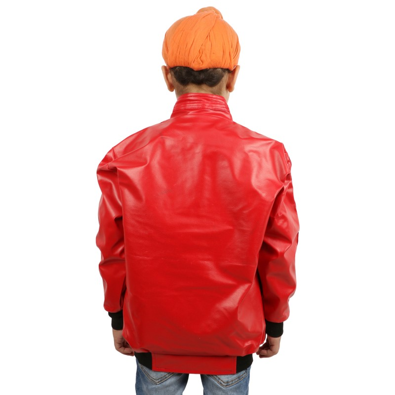 Full Sleeves Solid Leather Jacket For Kids- Red