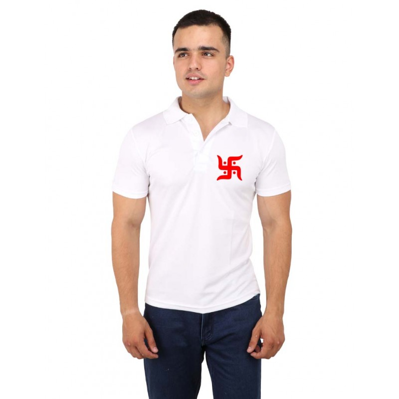 Red Bold Swastik Polo T-Shirt For Men